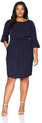 Eliza J Women's Plus Size Sheath Dress with Flounce Sleeve