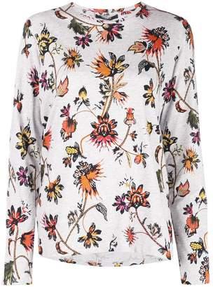 Derek Lam Indian Floral Long Sleeve Oversize Printed Tee