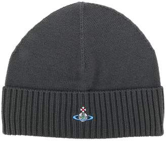 Vivienne Westwood logo embroidered ribbed beanie
