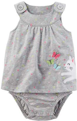 Carter's Gray Cat Sunsuit Bodysuit - Baby Girl