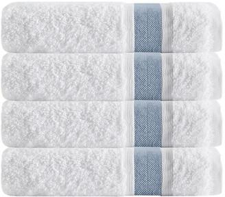 Enchante Set Of 4 Unique Blue Stripe Bath Towels