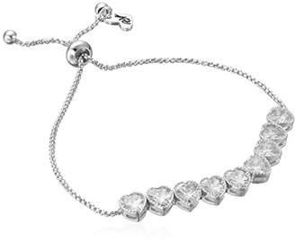 Betsey Johnson betsey blue heart cubic zirconia stone silver slider bracelet