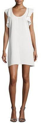 Elizabeth and James Dillon Sleeveless Ruffle-Trim Shift Dress, Ivory $365 thestylecure.com