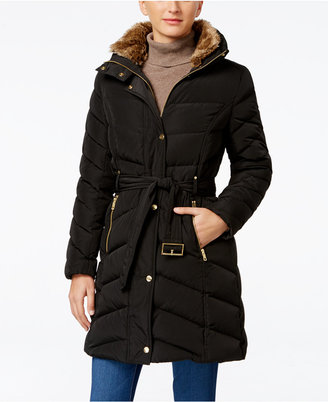 Cole Haan Faux-Fur-Collar Belted Down Puffer Coat $275 thestylecure.com