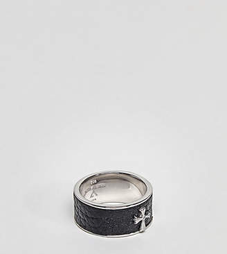 Seven London Black Band Ring In Sterling Silver