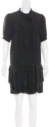 Tibi Silk Tie-Neck Dress