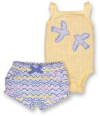 Lamaze Organic Sleeveless Ruffle Bodysuit & Shorts, 2pc Outfit Set (Baby Girls)
