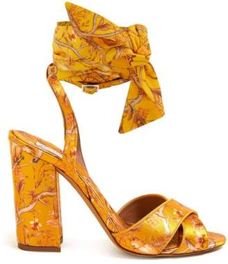 Tabitha Simmons X Johanna Ortiz Connie Print Silk Strap Sandals - Womens - Yellow Multi