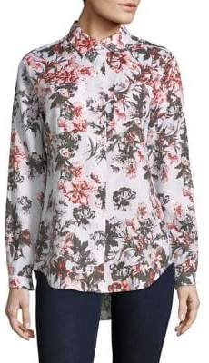 Lord & Taylor Floral-Print Linen Button-Down Shirt