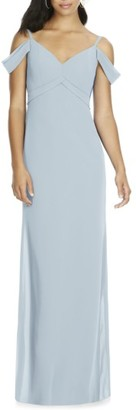 Women's Social Bridesmaids V-Neck Chiffon Cold Shoulder Gown $196 thestylecure.com