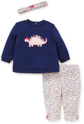 Little Me Baby Girls 3-Pc. Cotton Headband, Dinosaur Top & Printed Leggings Set