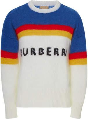 Burberry Osbourne Mohair-Blend Intarsia Logo Sweater