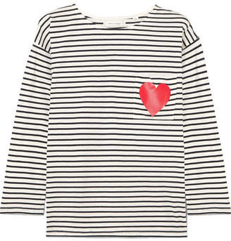 Chinti and Parker Printed Striped Organic Cotton-jersey Top - Navy