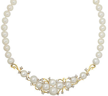 Lord & Taylor 14Kt. Yellow Gold, Fresh Water Pearl and Diamond Necklace