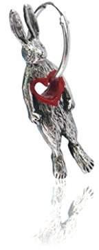 Momocreatura Women's Oxidised Sterling Silver Stolen Heart Rabbit Mono Hoop Earring
