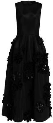 Simone Rocha Faux Leather-Trimmed Appliquéd Woven Gown