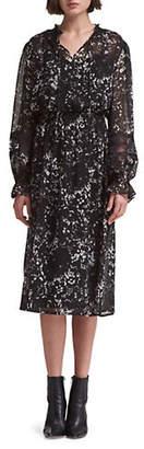 DKNY Floral Lace Long-Sleeve Dress