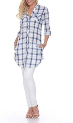 White Mark Women's Piper Plaid Tunic Top