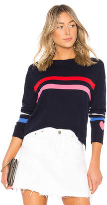 Sundry Stripes + Heart Cashmere Blend Crew Neck