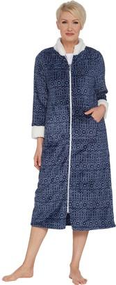 Stan Herman Printed Silky Plush Robe with Sherpa Trim 95ba3200f