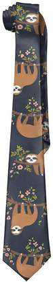 Sale Shower Curtain Men Cute Sloth Climb Tree Polyester Silk Formal Gentleman Tie Necktie Gift Box