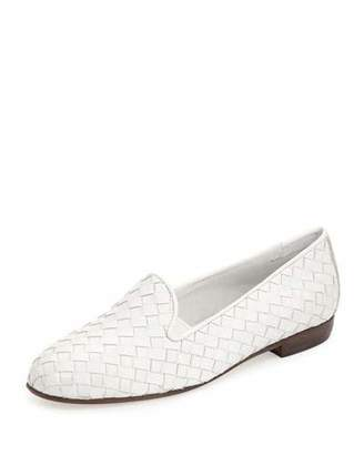 Sesto Meucci Nader Woven Leather Loafer, White $275 thestylecure.com