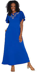 Factory Quacker Regular Floral EmbroideredKnit Maxi Dress