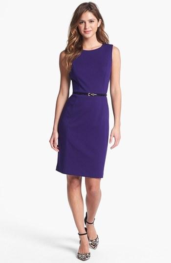 Calvin Klein Belted Ponte Sheath Dress (Online Only)