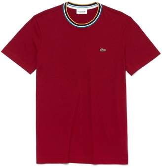 Lacoste Men's Striped Ribbed Crew Neck Cotton Jersey T-shirt