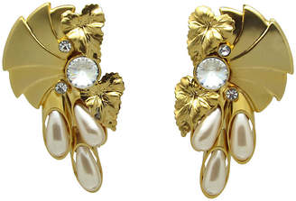 One Kings Lane Vintage Dramatic Floral Design Earrings - Thanks for the Memories