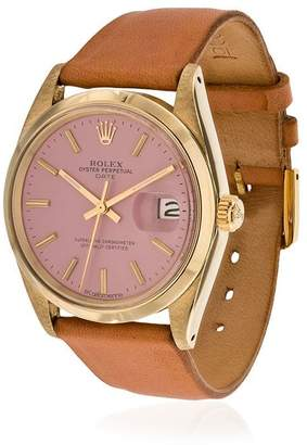 Rolex La Californienne Flamingo Oyster Perpetual Date 14k Solid Gold Watch 34mm