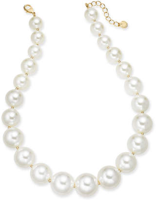 """Charter Club Gold-Tone Oversize Imitation Pearl Collar Necklace, 18"""" + 2"""" extender"""