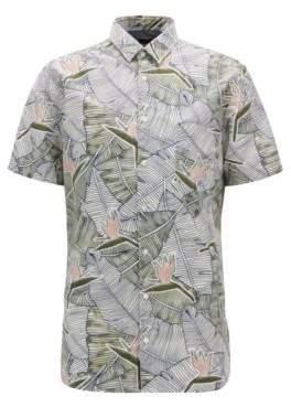 BOSS Hugo Tropical-Print Cotton Sport Shirt, Slim Fit Catittude Short XXL White