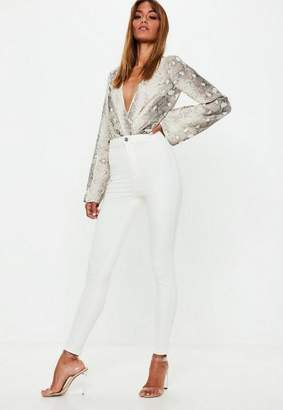 Missguided White High Waisted Skinny Jeans