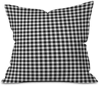 Deny Designs Ebony Gingham Outdooor Throw Pillow