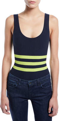 KENDALL + KYLIE Striped Ribbed Sleeveless Bodysuit