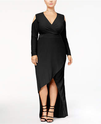 Monif C Trendy Plus Size Cold-Shoulder Faux-Wrap Dress