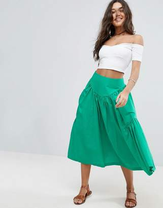 Asos Design Midi Skirt with Oversize Pockets