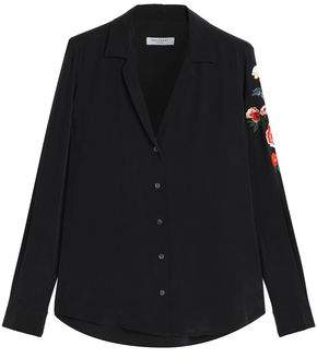 Equipment Adalyn Embroidered Washed-Silk Shirt