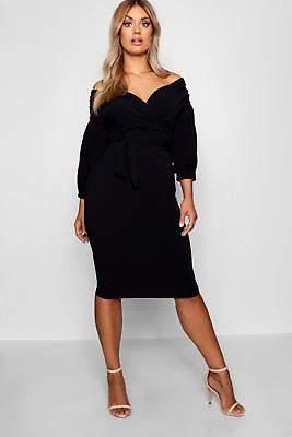 boohoo NEW Womens Plus Off Shoulder Wrap Midi Dress in Polyester 5% Elastane