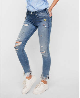 mid rise embellished stretch ankle jean leggings