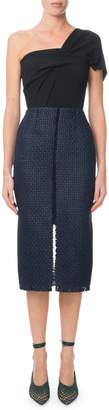 Roland Mouret Morita One-Shoulder Lattice-Skirt Midi Dress