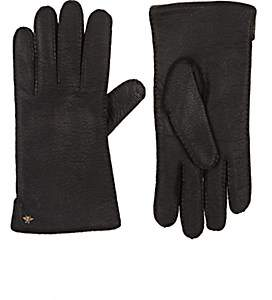 Gucci Men's Grained Leather Gloves - Black