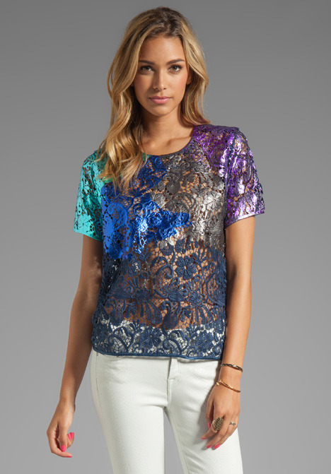 Cynthia Rowley Foiled Lace T-Shirt Top