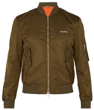 Valentino Logo Print Bomber Jacket - Mens - Khaki