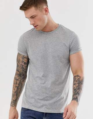 Asos Design DESIGN t-shirt with crew neck and roll sleeve in grey marl