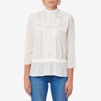 Maison Scotch Women's Embroidered Top with Small Studs