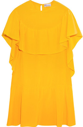REDValentino - Ruffled Silk Mini Dress - Bright yellow $650 thestylecure.com