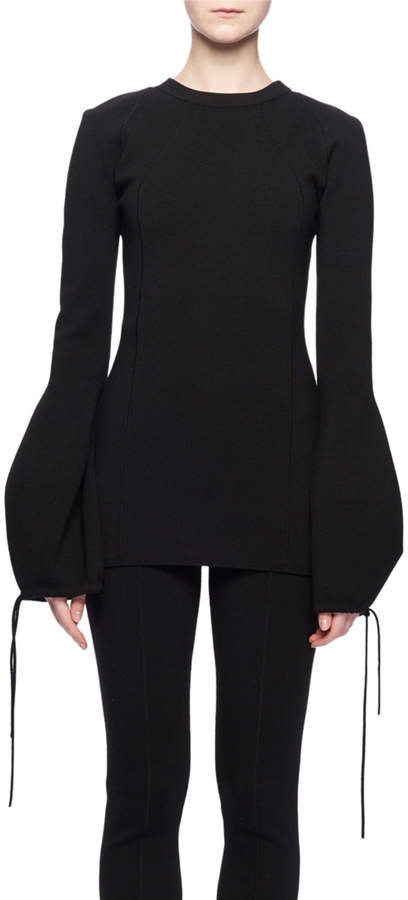 Victoria Beckham Crewneck Tie-Sleeve Wool-Blend Sweater