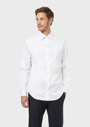Giorgio Armani French Collar Cotton Twill Shirt